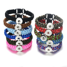 Hot Sale Snap Leather Bracelet Retro Handmade Braided Leather Snaps Bracelet Bangles fit 18MM Snap Jewelry 8198(China)