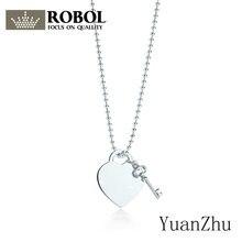69b1da990732 ROBOL 925 de plata esterlina clásico corazón llave cerradura con llave  colgante collar de plata elegante originales de las mujer.