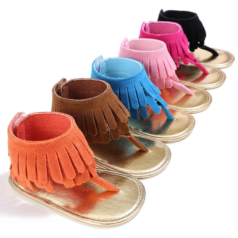 Summer T style PU Suede Leather Double Tassel baby sandals Soft sole Anti-slip Baby infant shoes Baby sandals