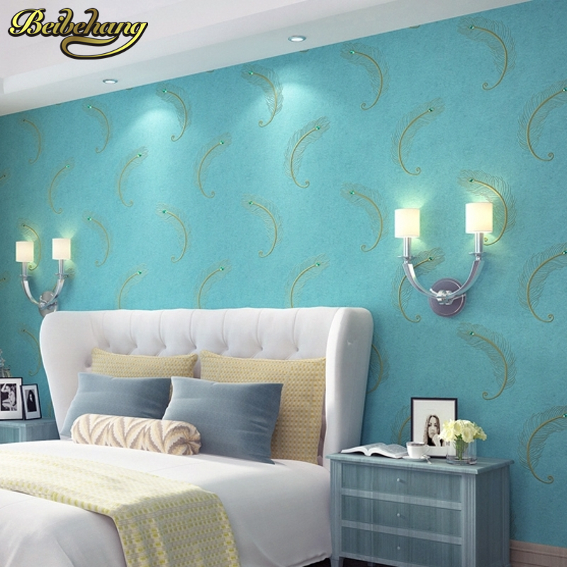 beibehang grade embroidery wallpaper Continental drilling non woven peacock blue feather bedroom living room TV background wal beibehang peacock deep blue feather