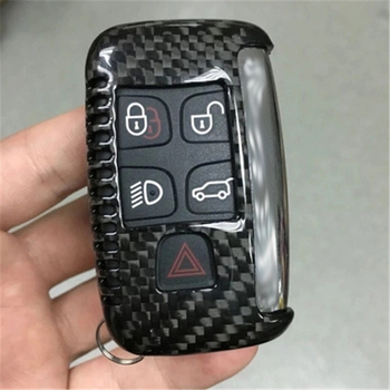For Land Rover Range Rover Evoque/Jaguar Real Carbon Glass Fiber Car Key Pack Cover Key Case Holder Shell Keychain Accessories