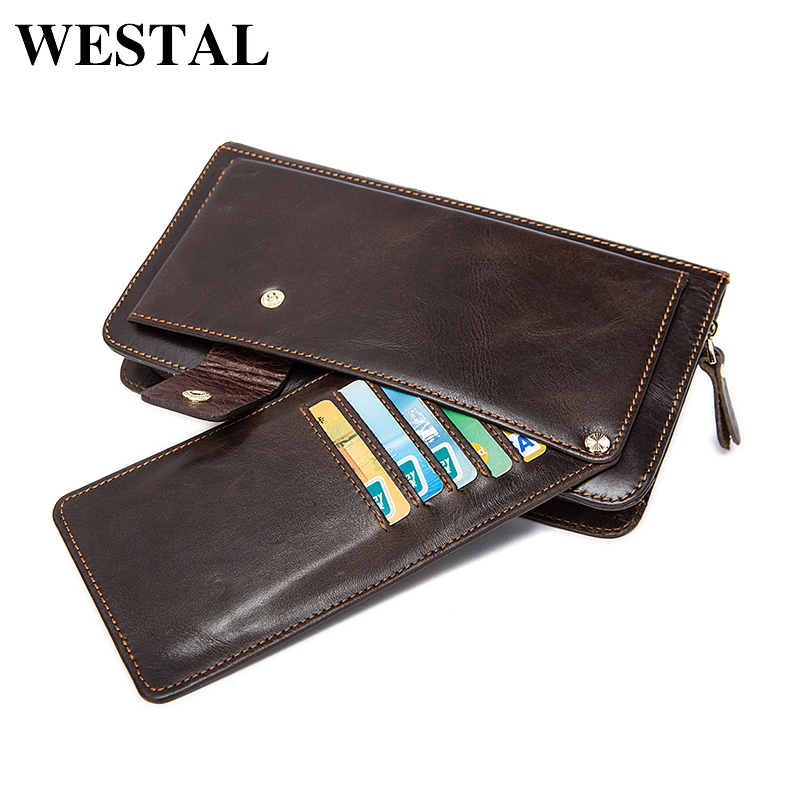 WESTAL Multifunctional Genuine Leather Man Wallet Credit Card Men Wallets Coin Purse