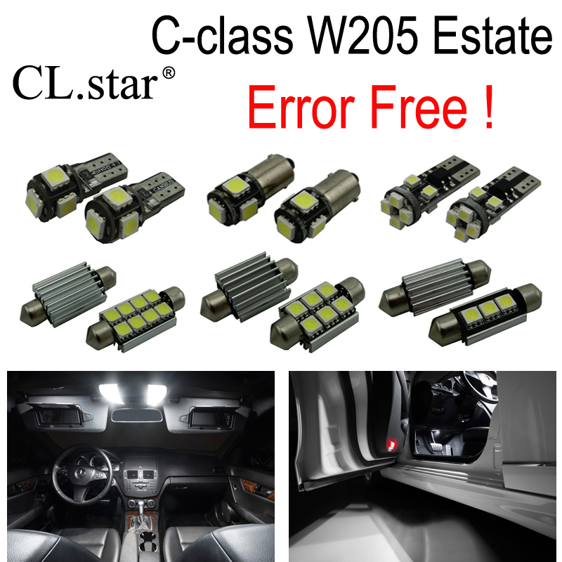 15pcs LED bulb interior dome Light Kit For Mercedes C class S205 Estate Wagon C160 C180 C200 C220 C250 C300 C350 C400 C450 2015+ 10pcs error free led lamp interior light kit for mercedes for mercedes benz m class w163 ml320 ml350 ml430 ml500 ml55 amg 98 05
