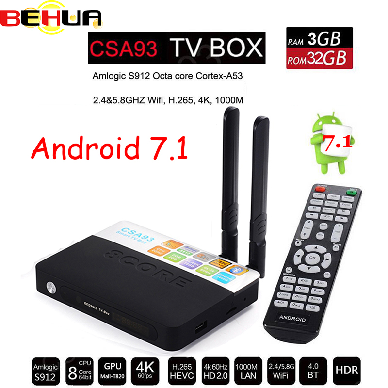 3GB 32GB Android 7.1 smart TV Box Amlogic S912 Octa Core CSA93 Streaming Smart Media Player Wifi BT4.0 4K set TV box PK H96 PRO new x98 pro android 6 0 tv box 3gb ram 16 rom amlogic s912 octa core smart tv box 2 4g 5 8g dual wifi bt4 0 uhd 4k media player