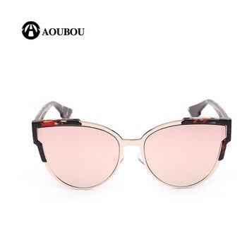 Gafas de sol AOUBOU ojo gato mujeres Retro marca diseño negro aleación marco Anti azul vidrio gafas de sol Lunette de sol Woman7109