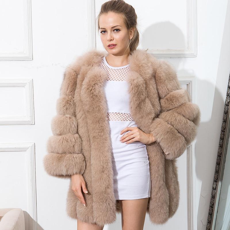 CNEGOVIK Hot sell short womens fur coats colored real fox fur coat new stripe fashion 80CM large size