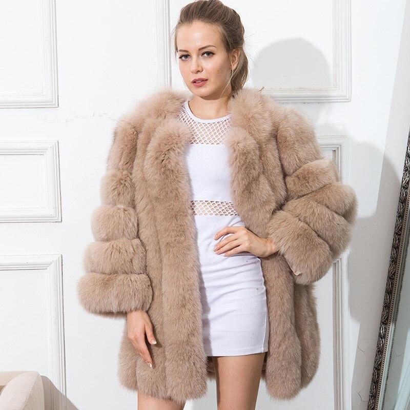 CNEGOVIK vente Chaude courtes femmes manteaux de fourrure couleur de vrais fourrure de renard manteau nouvelle bande mode 80 CM grande taille