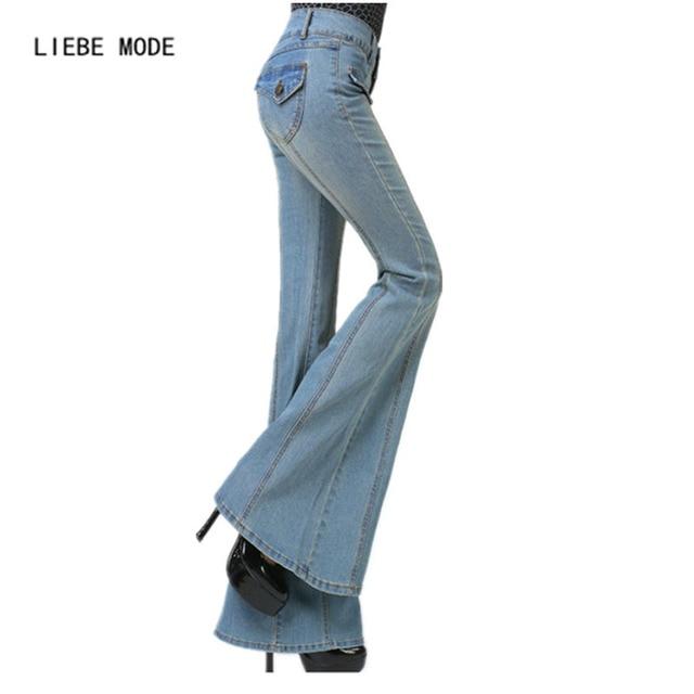 052dc2e5e9 US $50.4 16% di SCONTO|Signore Pantaloni A Vita Alta Dei Jeans Femminili  Dei Jeans a Zampa pantaloni Larghi del Piedino Donna Skinny Slim Jeans Bell  ...