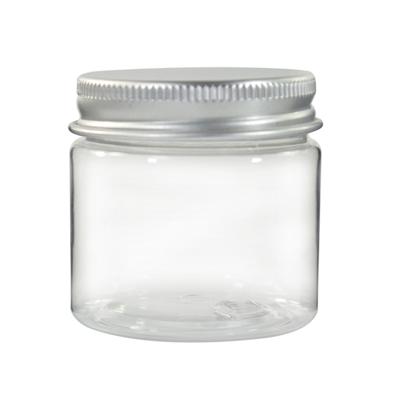 100pcs 100g clear plastic jar with aluminum lid  Transparent pet jar cosmetic cream jar with aluminum screw cap lid