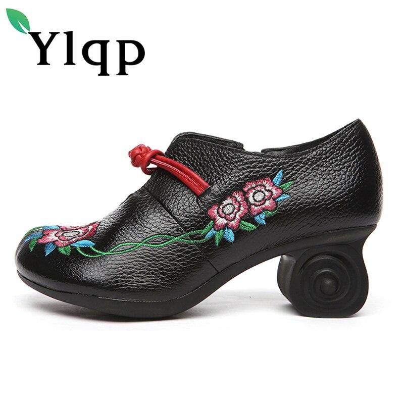Broderie Vintage Chinois Vent Sapato Hauts National Mère Véritable Dame Cuir gris rouge Pompes Fleur Ylqp Femmes Noir En Chaussures Talons wqOSf7nxR