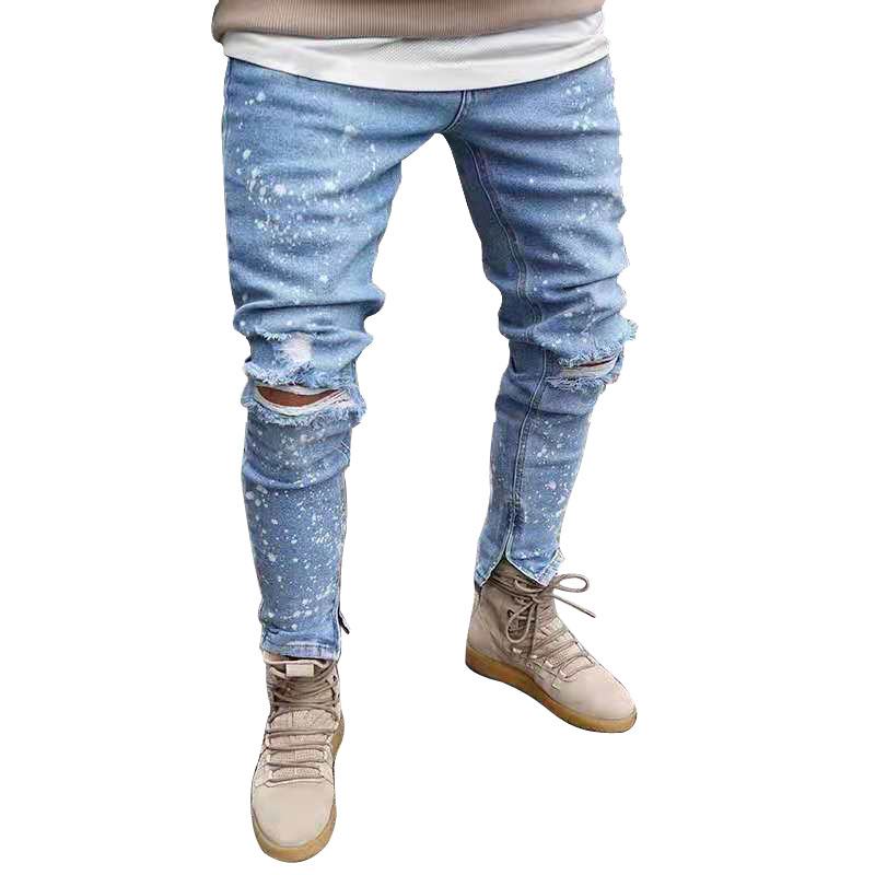2019 Skinny   Jeans   Men Sexy Ripped Hole Stretch Denim Trousers Male Autumn Straight Streetwear Pencil   Jeans   Plus Size