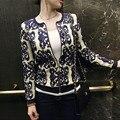 Nuevo Popular 2016 del otoño del resorte Cardigans mujeres suéter de la rebeca azul porcelana blanca impreso manga larga de punto jerseys B356