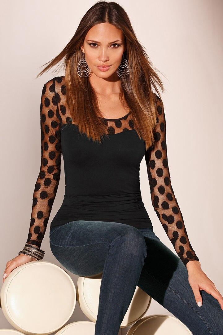 Новые модные женские туфли s дамы с длинным рукавом в горошек сетки рубашку летом Повседневное Тонкий Блузка Топы корректирующие модные женские туфли одежда