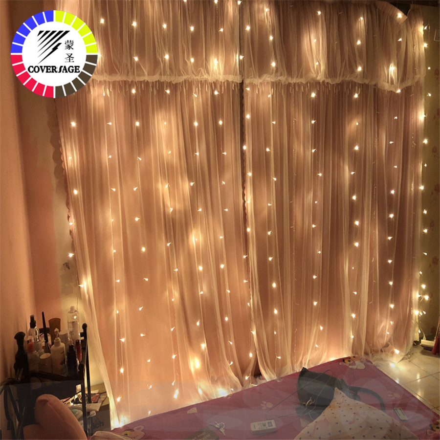 Coversage Christmas Curtain Fairy Garland Light 3x2M 2x2M Christmas Decorative LED String Xmas Party Garden Wedding Lights