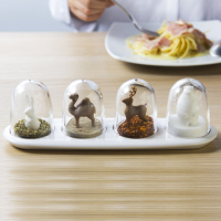 4Pcs Set Creative Seasons Plant Animal Paradise Seasoning Box Salt Sugar Pepper Shaker Jars Spices Bottle