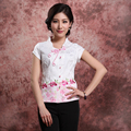 White New Summer Women's Fashion Blouse Chinese Style Cotton Embroider Flower Shirt Coil Button Tops M L XL XXL3XL 080906