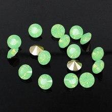 7mm ss34 720pcs Green Opal Resin Rhinestones Round Shape Point Back Stones  Glitter Beads DIY Wedding 2dbb954faf55