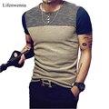 2017 Moda Verão Camisa dos homens T Ocasional Patchwork de Manga Curta T camisa mens clothing tendência casual slim fit hop top t 5xl