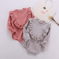 Newborn Baby Girl Clothes Autumn Winter 2018 Baby Rompers Ruffle Cotton Long Sleeve Infant Jumpsuit Toddler