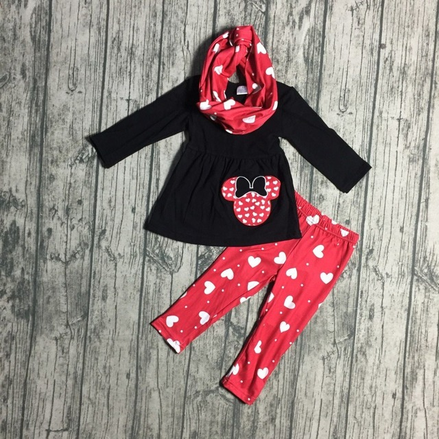 Hot Sale Baby  Pcs With Scarf Sets Clothes Girls Valentines Day Party Clothes Black Top