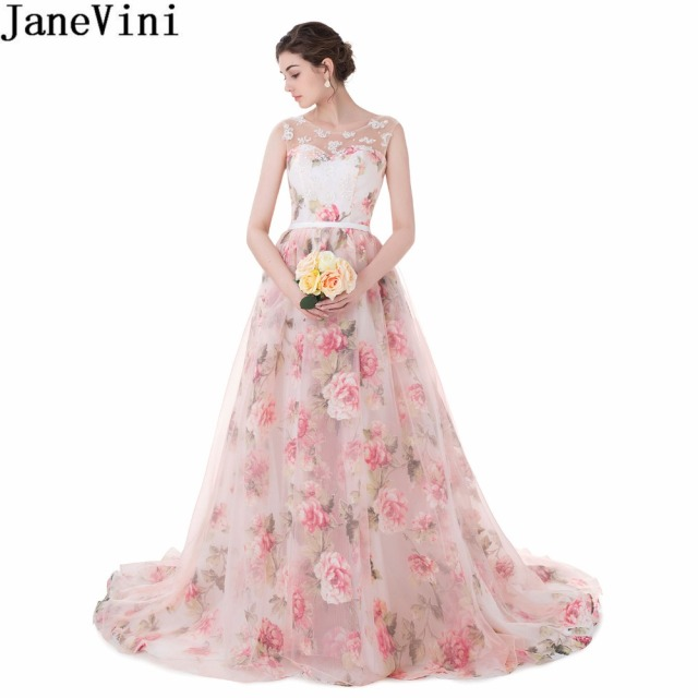 JaneVini Womens Long Elegant Party Dresses for Wedding Floral Print Plus  Size Bridesmaid Dress Lace Sequined Gown Robe De Soiree e20032d1a135