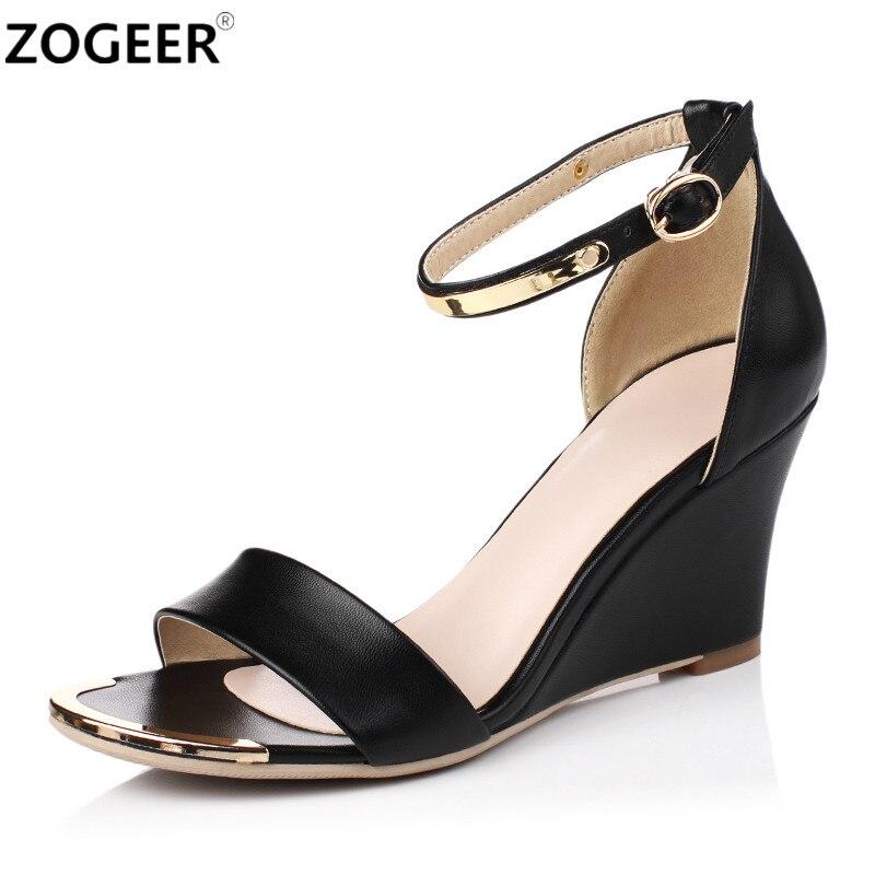 Summer Women High Heels Sandals Open Toe Wedges Heels Sandals Women Concise Dress Shoes Ankle Strap Party Shoes white black