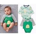 2017 nuevo 2 unids/paquete estilo rana Mono del bebé para los niños niños 100% algodón bebé ropa de regalo gemelos clothing body bebe