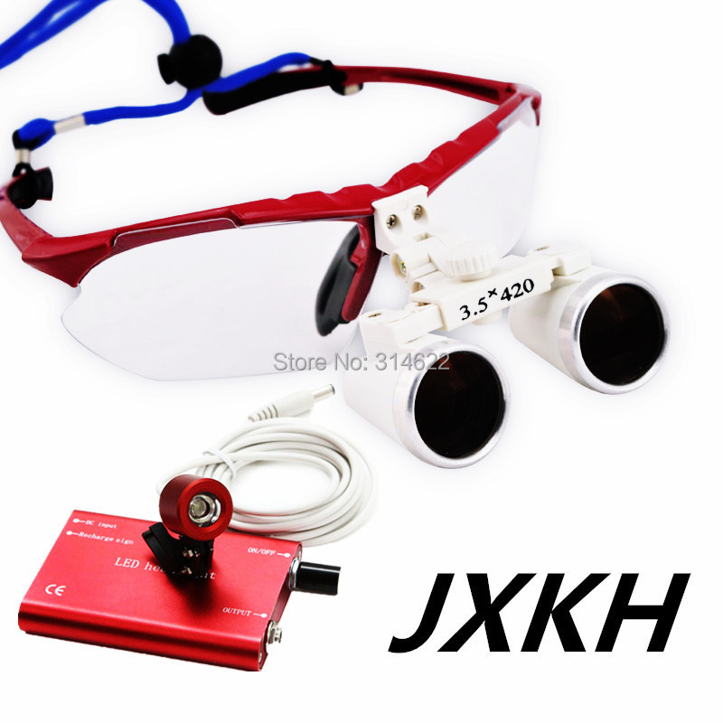 Doctor's 3.5X high quality dental loupes with led headlight 420mm work distance JXKH red  цены