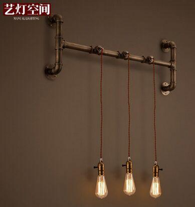 ФОТО retro Iron modern Industrial pipe wall lamp loft Edison led bulb abajur led pared cafe bar wall sconce luminarias para sala