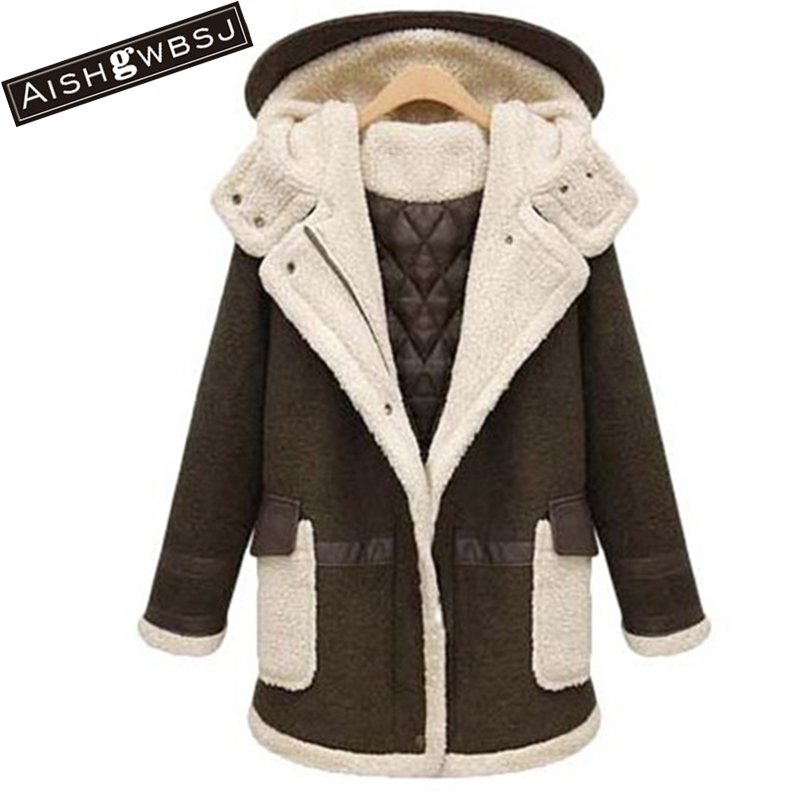 AISHGWBSJ women 2017 new women winter jacket wadded cotton winter coats female long lambswool hooded parkas mujer invierno PL042 women winter parkas 2017 new fashion hooded thick warm patchwork color short jacket long sleeve slim big yards coat ladies210