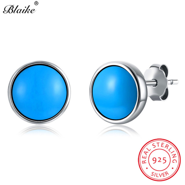 Blaike 100 Genuine S925 Sterling Silver Round Turquoise Stud Earrings For Women Fine Jewelry Vintage