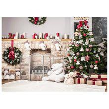 7x5ft Рождество дерево Фон фотографии кирпичный камин для новорожденных Рождество Аксессуары для фотостудий Задний план