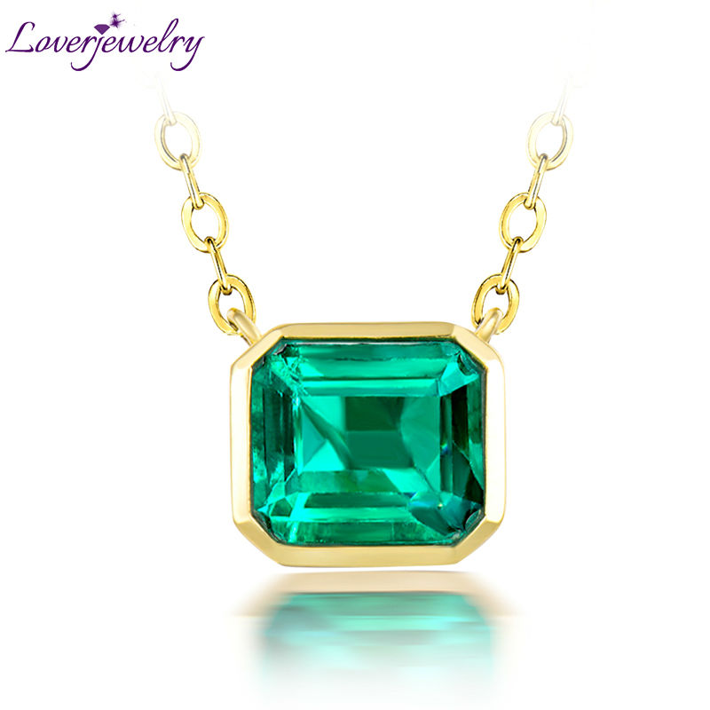 18K Gold Jewelry Women Natural Emerald Necklace Pendant for Wfie and Mom Jewelry Gift WP044