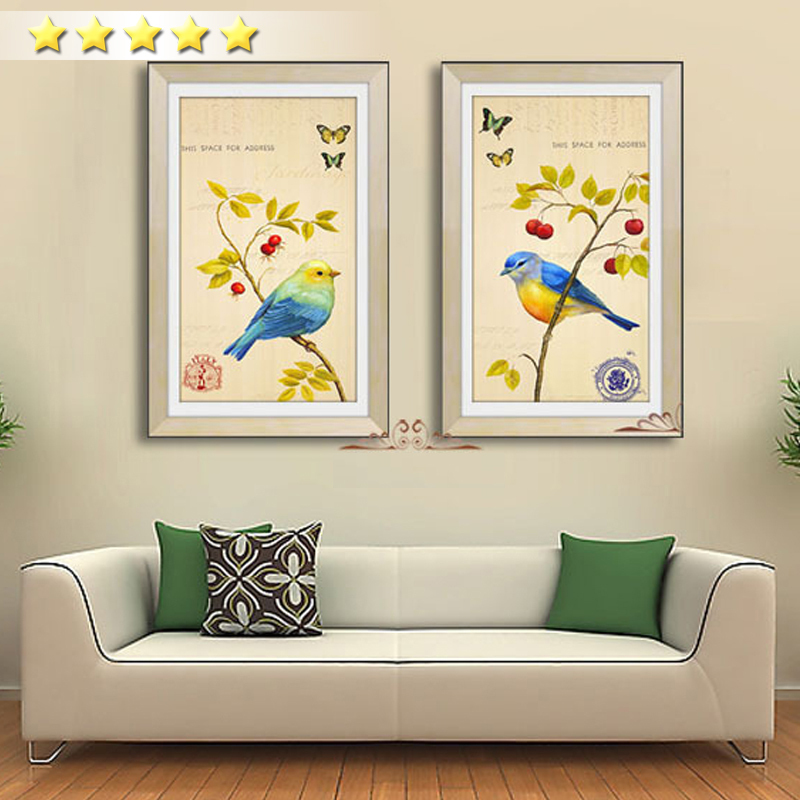Chinese Style 2 Pcs Poster Picture Cuckoo Parrot Bird Flower Spring Scenery Oil Painting Large