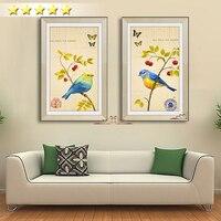 Estilo chino 2 unids impresiones imagen cuco loro pájaro de la flor de primavera paisaje pintura al óleo grande de la lona de arte pintura decoración del hogar