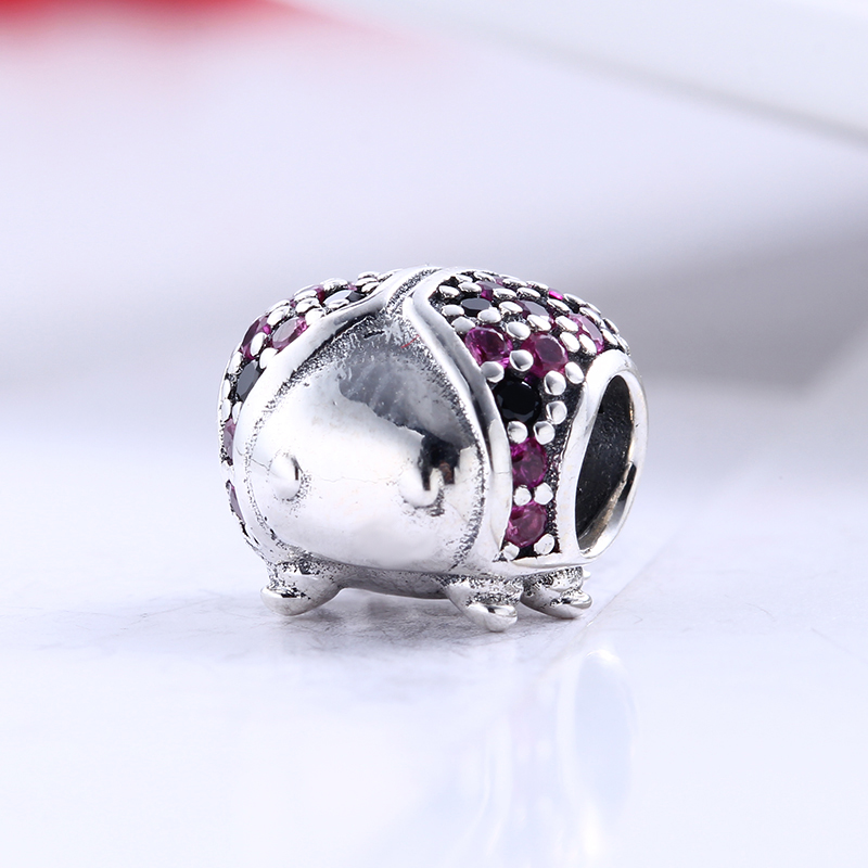 New 100% 925 Sterling Silver Fit Original Pandora Bracelet Spring Luxury ladybird Pave CZ Charm Beads for Jewelry Making Gift