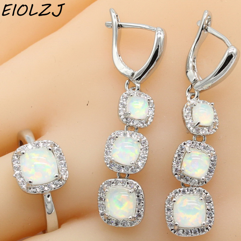 Beautiful Long Square White Fire Opal 925 Sterling Silver Earring Sets For Mom Anniversary Jewelry Sets Dangle Earrings Gift BoxBeautiful Long Square White Fire Opal 925 Sterling Silver Earring Sets For Mom Anniversary Jewelry Sets Dangle Earrings Gift Box