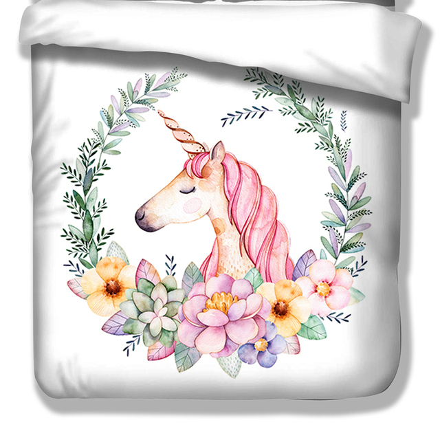 Pink Unicorn Duvet Cover set with Pillow Case USA Twin Full Queen King size soft and comfortable new bed linen set new 3pcs