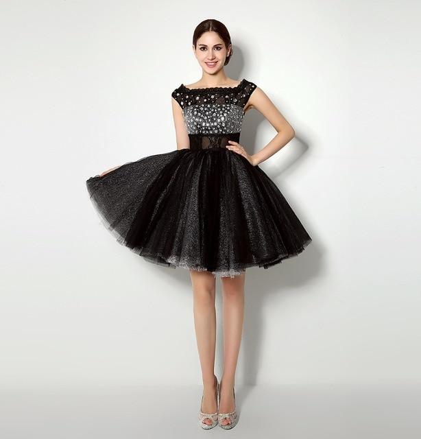 ee0c4c2a5 2016 Nueva Moda Cortos Vestidos de Fiesta para Niñas de Encaje Negro Vestidos  2015 Vestido de