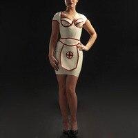 Латексный резиновый белый халат медсестры фартук латексная униформа набор (без крышки)