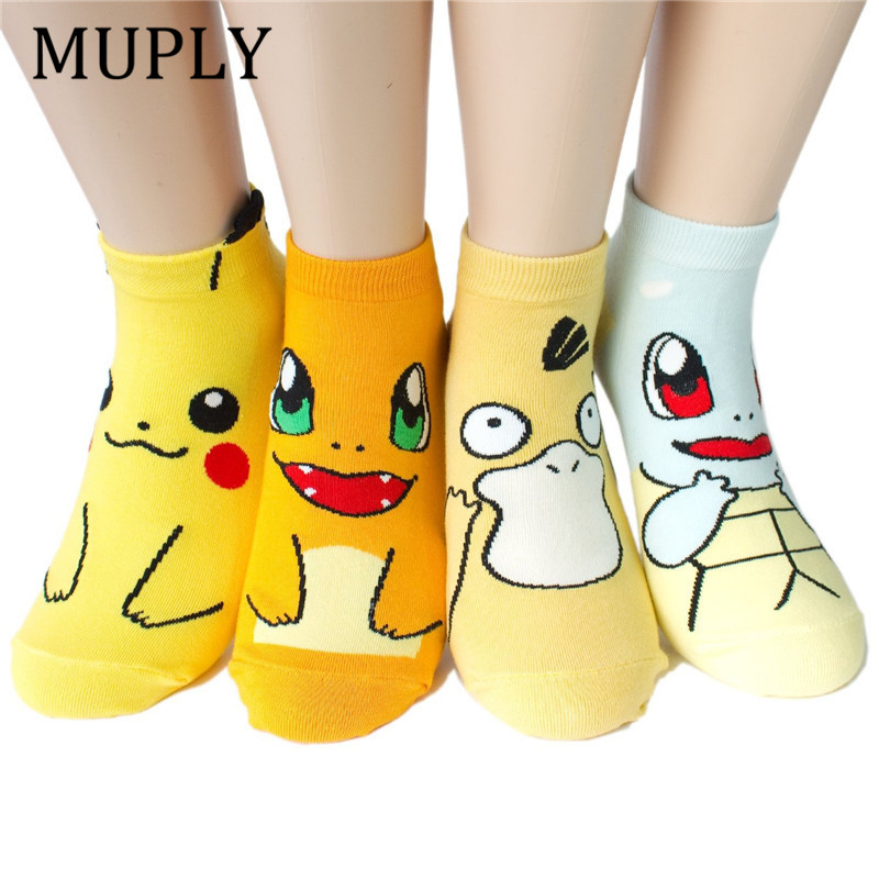 Harajuku Print Cute Women Socks Cotton Ankle Novelty Cartoon Funny Socks Streetwear Sox Candy Color Sock Sokken 2019 New Fashion