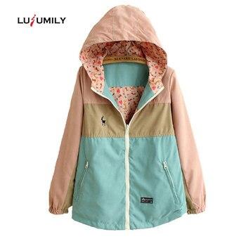 Lulumily primavera mujer Windbreake suelta de dibujos animados con capucha dos lados desgaste chaqueta delgada mujer abrigo mujer cortavientos chaquetas ropa