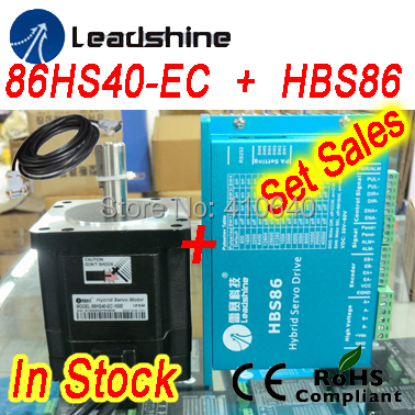 Set sales Leadshine Hybrid Servo Motor 86HS40 86HBM40-1000  and HBS86 HBS86H servo drive 80VDC 8.2A and encoder cable 100w new leadshine closed loop system a servo drive hbs507 and 3 phase servo motor 573hbm10 1000 with a cable a set cnc part