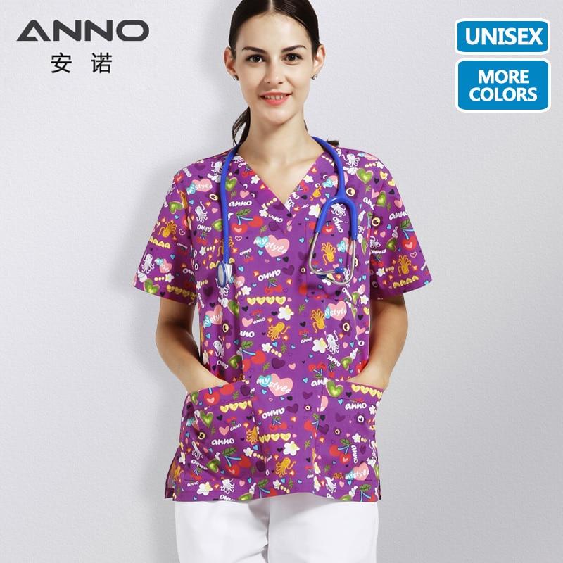 ANNO Carton Nurse Clothing Medical Scrubs Women Children Hospital Work Uniforms Nursing Dress Medical Gown Slim Fit