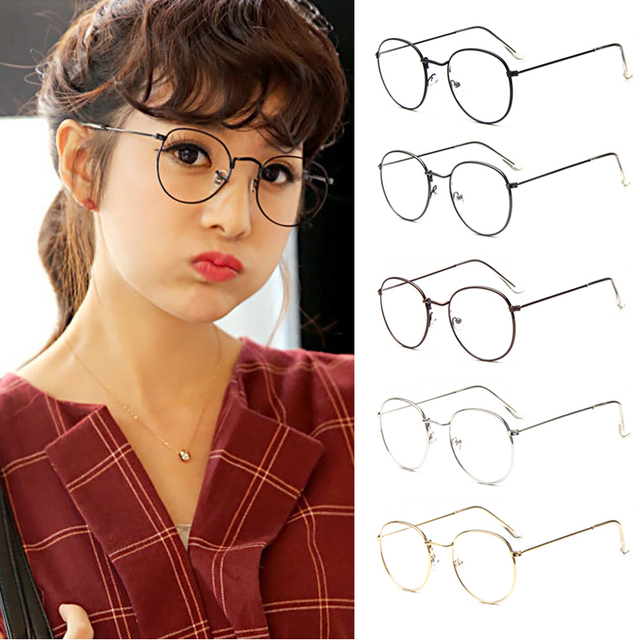 a39f9592a Fashion Vintage Women Eye Glasses frames Plain Mirror Literary Harajuku big  Metal oval frame glasses Oculos Feminino Masculino-in Eyewear Frames from  ...