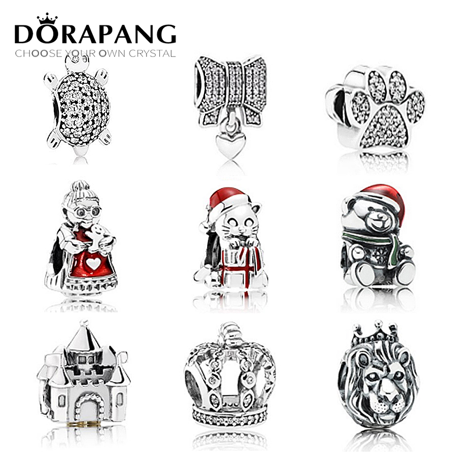 DORAPANG Genuine 925 Sterling Silver Pattern people Clear CZ The lion Charm Beads Fit Bracelet DIY bracelet factory Wholesale dorapang 100% 925 sterling silver snake chain necklace fit charm beads for women fashion jewelry diy bracelet factory wholesale
