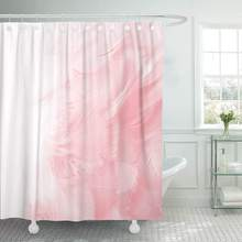 Fabric Shower Curtain with Hooks Red Nature Coral Pink Vintage Color Trends Feather White Abstract Angel Animal Bird Decorative(China)