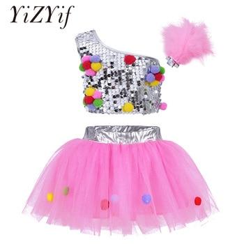 Kids dance costumes Jazz Dancing One-Shoulder Sequins Crop Top with Mesh Tutu Skirt Hair Clip for Jazz Ballet Ballroom Dance