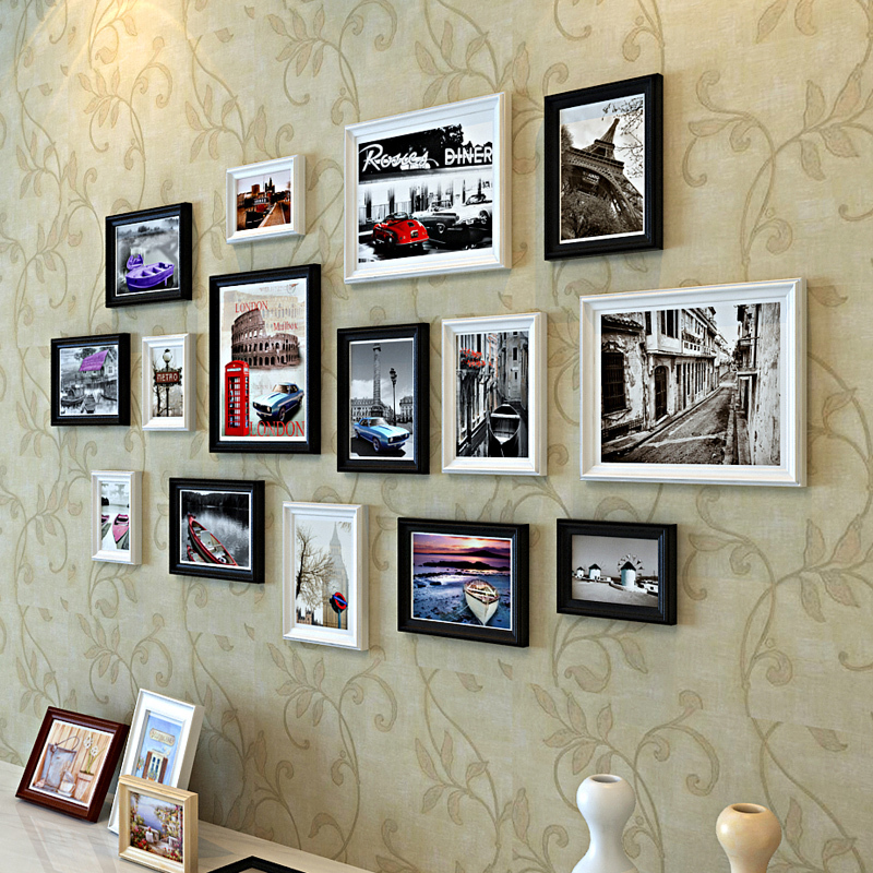 European pastoral creative wood frame combination photo wall living room black white mix color architecture in frame from home garden on aliexpress com