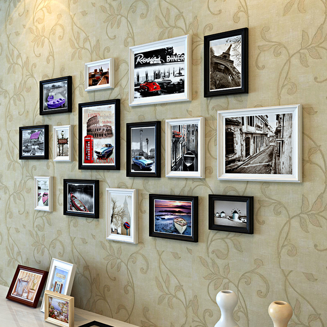 Us 6699 European Pastoral Creative Wood Frame Combination Photo Wall Living Room Black White Mix Color Architecture In Frame From Home Garden On